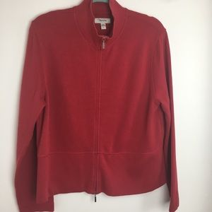 Faconnable red zip up sweater size L